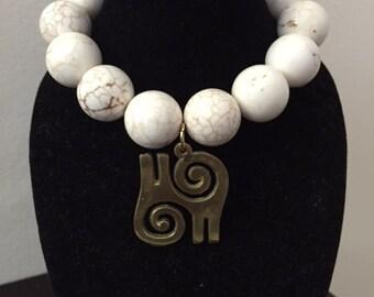 White Magnesite Kwatakye Atiko Stretch Bracelet, Adinkra Charm Bracelet, African Charm Bracelet, Magnesite Bracelet, Stretch Bracelet