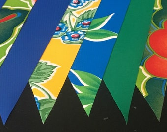 KIT #17  (1 pk) 15' Tropicale Oilcloth Pennant Banners Bunting Flag Garland Party Shower Camper Photo Prop