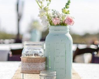 Rustic Mint Ball Canning Mason Jar, Wedding Centerpieces, Wedding Decor, Mint Green Jars, Mint Mason Jar, Mint Wedding Decor, Rustic Decor