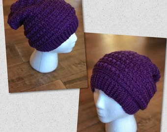 "Winter slouch beanie hat...the ""Hipster"" in crochet"