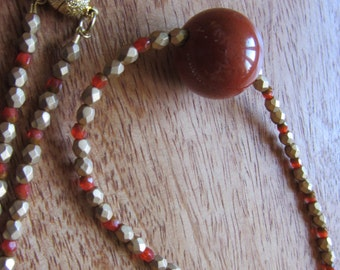 Modern elegant necklace with redhead natural stone pearl