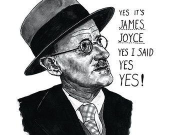 James Joyce Ulysses portrait poster print - Great Irish Writer - Literary Print