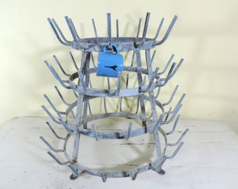 Vintage Bottle Drying Rack/French Vintage Bottle Rack/French Vintage Herisson/Bottle Drying Rack/Galvanized Metal Rack