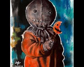 "Print 8x10"" - Sam - Trick r Treat Horror Dark Art Halloween Samhain Lowbrow Pop Art Gothic Pumpkin Skull Peeping Tommy Monster Creature"