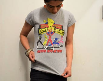 Power Rangers Morph Into Action Official Ladies Fitted T-shirt (Heather Grey) MMPR Mighty Morphin Power Rangers