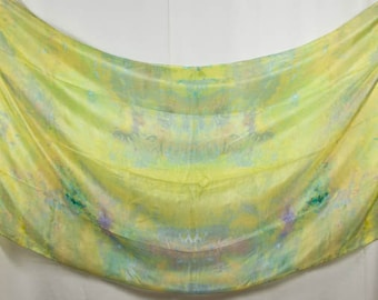 Silk Belly Dance Veil Green, Blue, Yellow OOAK 84x35 DDB1507