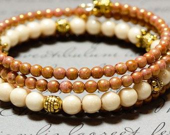 Memory Wire Bracelet, Rose Beaded Bracelet, Neutral Color Spiral Cuff, Beaded Gypsy Bracelet, Bohemian Wrap, Spiral Wrap Bracelet, Cream