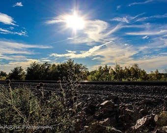 Sun, Cloud Landscape, Train Track, Sky Nature Landscape Photo Print