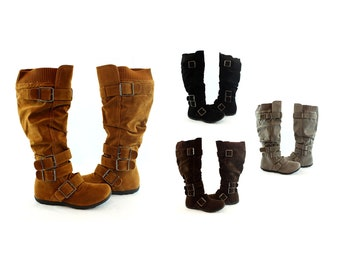 Womens Shearling Buckle Strap Fashion Boots