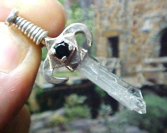 Black Onyx Tabby Crystal Silver Swords of Stone Pendant 324