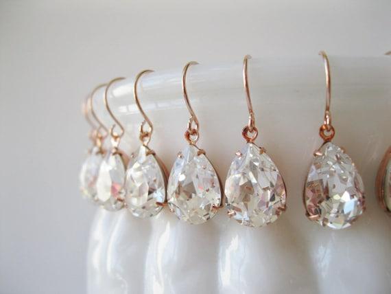 Set of 12 pairs Rose Gold Crystal Bridesmaid Earrings Teardrop Earrings Bridesmaid Sets Vintage Art Deco Wedding Bridal Jewelry Nickel Free