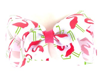 Pink flamingo Hair bow - hair bows, bows, hair clips, hair bows for girls, baby bows, girls hair bows, toddler bows, boutique bows, hairbows