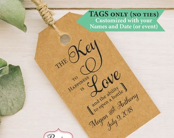 Key Tags, Bottle Opener Tags, Tags Wedding Favor Tags, Thank you tags, Key to Happiness is Love, Church Key Tags, 20-300 (no ribbon)