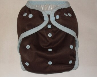 Brown PUL diaper cover with light blue snaps
