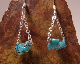 Turquoise Dangle Earrings in Sterling Silver RF038