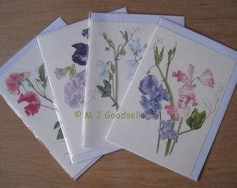 Sweet Peas Greetings Cards - set of 4