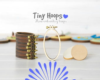 DIY Mini Embroidery Hoop Frame - 34mm x 62mm Oval Embroidery Hoop - Necklace Mini Embroidery Hoops - Tiny Hoop Brooch Kit - Oval Hoops L