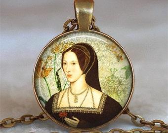 Anne Boleyn necklace, Anne Boleyn pendant Tudor Rose resin pendant Tudor jewelry English Queen keychain key chain key ring key fob