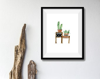 Cactus no. 2 art print ,watercolor print, cactus plants art, modern tribal art, Boho chic print, cactus print, southwestern art, painting