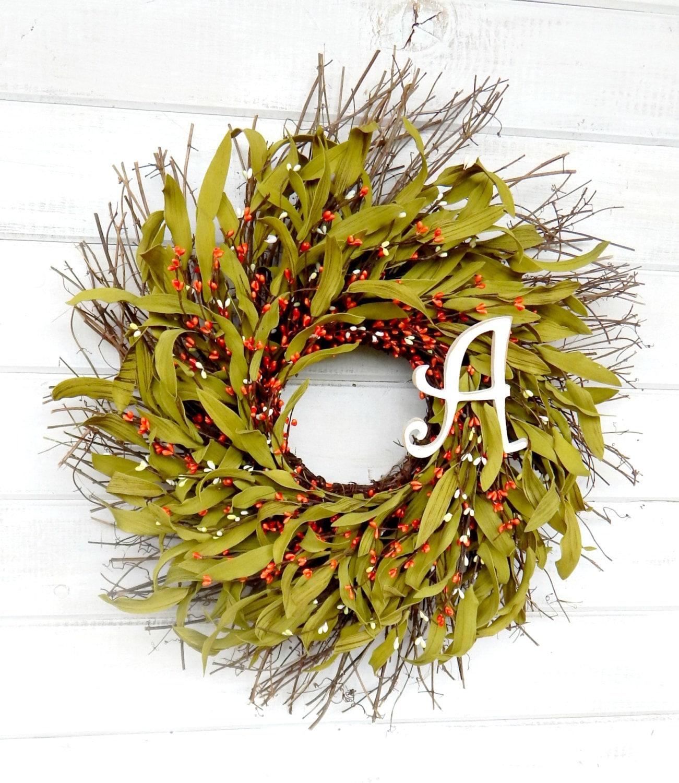 MONOGRAM Wreath-Fall Wreath-Orange TWIG Wreath-Fall Home Decor ...