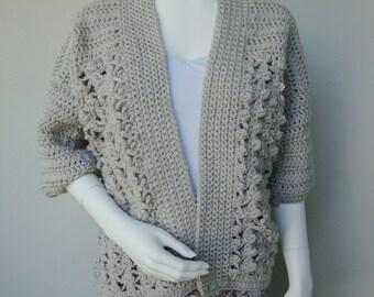 Crochet Cardigan, Gray Cardigan, Crocheted Cardigans, Cardigan Sweaters, Acrylic Cardigan, Beige Cardigan, Cardigan Women, Available in M