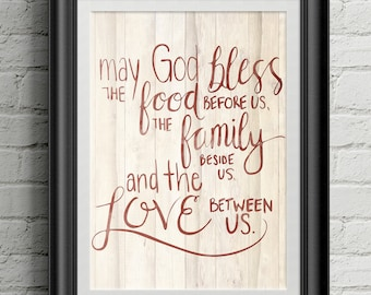 Food, Family, and Love Blessing Watercolor Wall Art