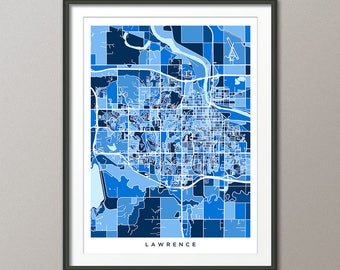 Lawrence Map, Lawrence Kansas City Map, Blue Art Print (3510)