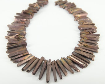 15.5 inches of strand,Rough Mystic Titanium Bronzed Quartz Crystal Cut Points Beads Pendant,Approx 70pcs