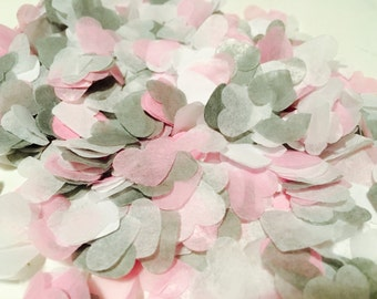 Pink, grey and white heart wedding confetti - biodegradable