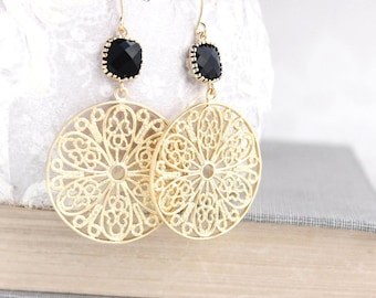 Gold Filigree Earrings Jet Black Glass Jewel Earrings Large Statement Dangle Earrings Modern Boho Round Circle Floral Lace Mesh Nickel Free