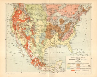 1903 original antique geological map of the united states and mexico