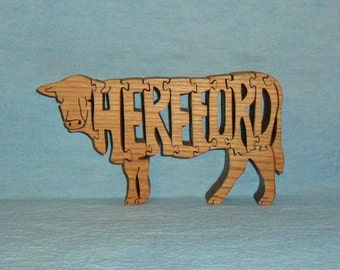 Hereford Cow Scroll Saw Wooden Puzzle