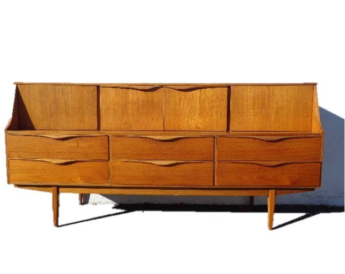 Featured listing image: Mid Century Modern Danish TV Media Console Sideboard Furniture Cabinet Buffet Server Sideboard MCM Storage Eames Teak Credenza Bar Cart