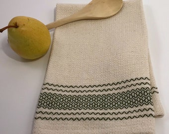Handwoven 100% Cotton Dish Towel (with dark green border)