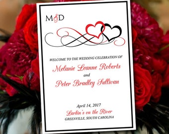 "Fold Over Wedding Program Template Download - Heart Wedding Program Petal Black ""Entwined Hearts"" Order of Service - Half Fold Program"