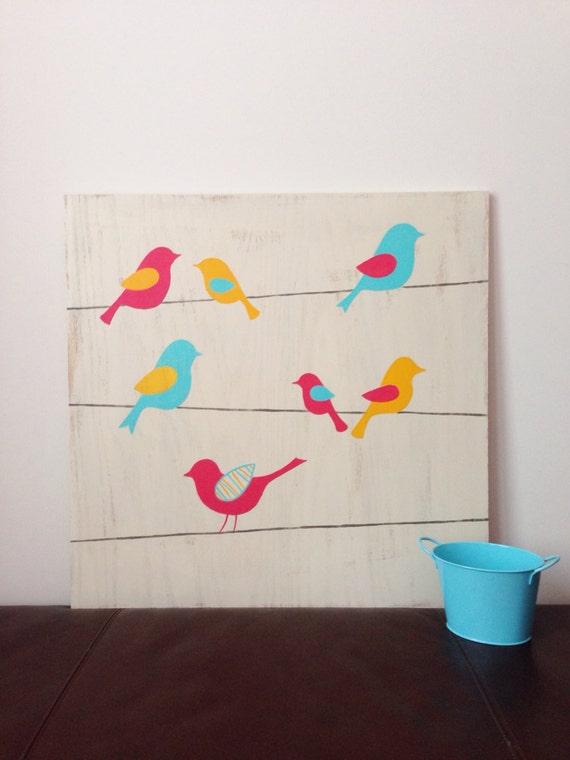 & Birds on a Wire Wall Art Woodland Nursery Decor Baby Girl