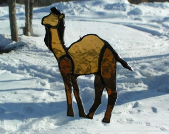 camel stained glass suncatcher