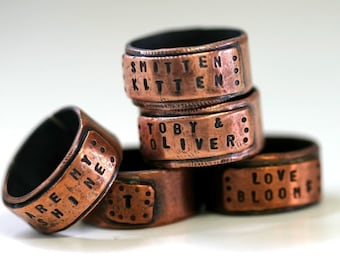 Wide Copper Band Ring Personalized (E0281)
