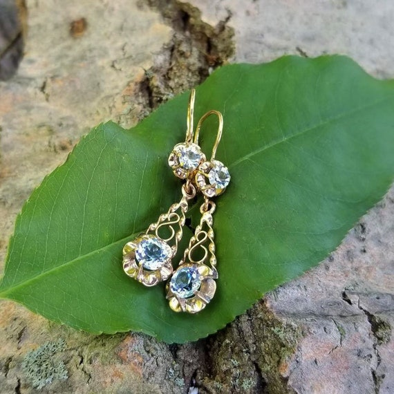 European made mid century vintage 14k gold lever back buttercup set baby blue paste pierced wire work earrings
