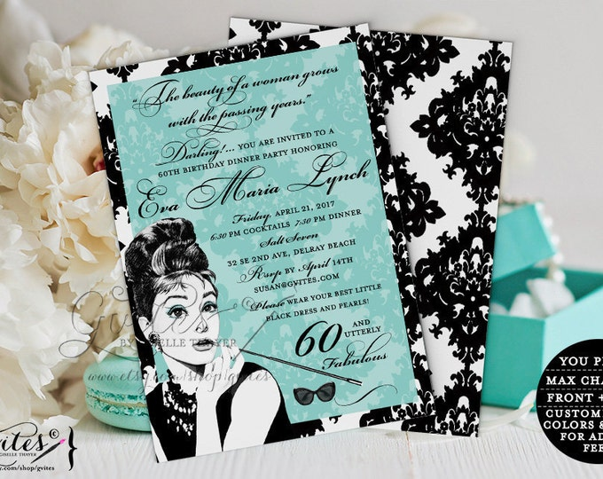 Audrey Hepburn 60th birthday invitations, blue dinner party co invites, 60 and utterly fabulous, party, personalized printable, double sided