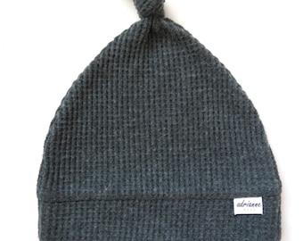 Waffle Knit Newborn Topknot Hat, Newborn Hat, Baby Hat, Baby Gift, Topknot