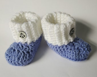 Baby Booties, blue and white, new baby gift, baby shower, hand crochet, baby shoes, handmade, infant shoes, newborn shoes, baby boots,