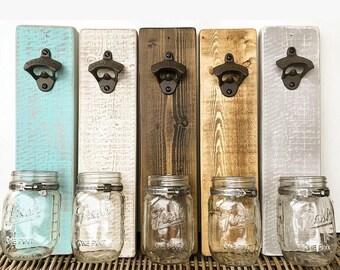 Rustic wall mounted beer bottle opener.Gift for him / husband / fiancé / boyfriend/ Usher / Best Man/ Man Cave / Garden Pub/ Outdoor / BBQ
