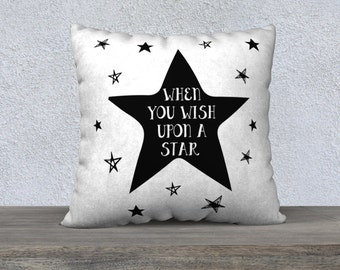 Wish Upon A Star, Throw Pillow, home decor, baby shower gift, nursery pillow, cushion cover, kids room pillow, baby pillow, baby gift