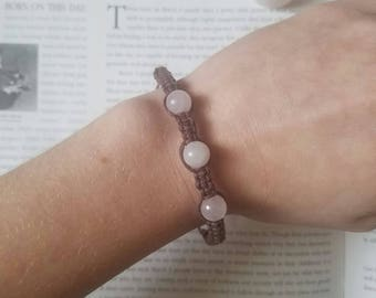 Macrame Wrapped Rose Quartz Bracelet