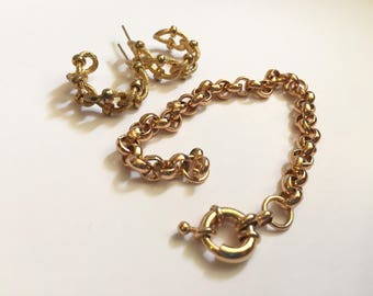 Vintage Gold plated Belcher Link Bracelet And Textured Rope Hoop Earrings