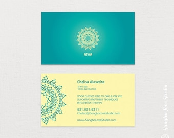 Yoga business card etsy atha yoga business card or wellness yoga business card colourmoves Image collections