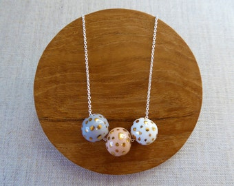 Mixed Dalmatian Speckled Gold Ball Necklace SALE