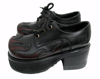 Vintage Platform Shoes Womens Flame Leather Welt Sole Club Kid Stacks Wms U.S. Size 5