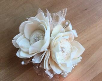 Vintage Corsage, Wedding corsage, Mother's corsage, keepsake corsage, wrist flower, corsage bracelet, flower bracelet, wedding flowers